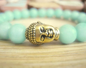 Buddha Bracelet - Amazonite Bracelet with Gold Buddha and Lotus Seed Mala Bead, Aqua Pastel Blue Green