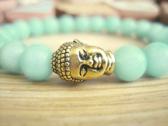 Buddha Bracelet - Amazonite Bracelet with Gold Buddha and Lotus Seed Mala Bead, Aqua Blue Green Stone for Healing and Overcome Obstacles
