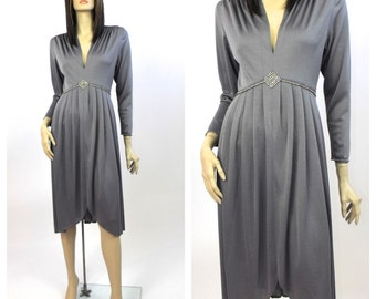 1970's Grey Jersey Knit Cocktail Dress with Rhinestones // World's Largest Disco // Late 70's Jersey Dress // Tulip Dress