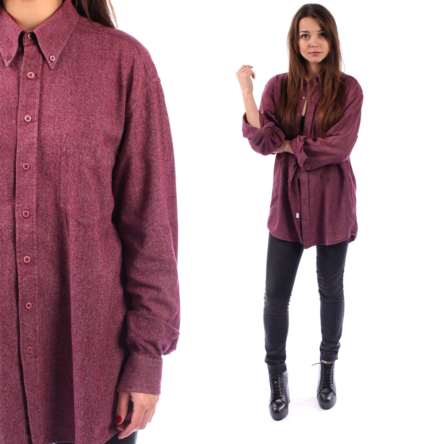 Grunge flannel shirt 90s burgundy red space dye longline for Space flannel
