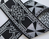 Celtic Cross Jacquard Trim 1.25 inches wide - Black and Silver - Two, Five, or Ten Yards