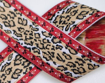 Cheetah Jacquard Trim 1&1/4 inches wide - Two, Five, or Ten Yards