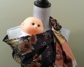SALE,Silk Brocade Doll Carrier,Reversible, OOAK, matches mommy sling