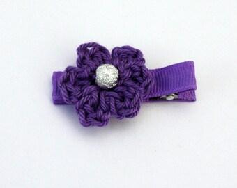 Crochet Flower Alligator Hair Clip in Purple