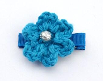 Crochet Flower Alligator Hair Clip in Hot Blue