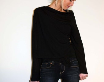 Light Weight Semi-Sheer Black Wrap Top Sweater Loose Front Opening - Made From Black Cotton Knit Jersey Fabric