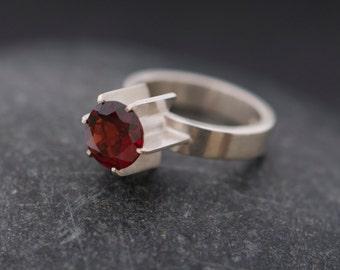 Red garnet Ring - Red gemstone Ring - Garnet Silver Ring - Garnet Set in Satin Finished Sterling Silver - Made to order - FREE SHIPPING