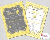 What will it Bee Baby Shower or Gender Reveal Invitation (gray & yellow chevron)