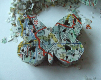 100 French map, Paper,  Butterflies, filigree, scrap booking, confetti, 45mm, by DoodleDee2