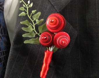 Shades of Red Button Blossom Boutonniere or Pin On Corsage