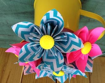 Kusudama Hot Pink & Bright Blue Paper Flower Arrangement in Yellow Metal Pitcher