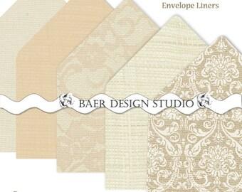PRINTABLE ENVELOPE LINERS:Champagne Burlap Lace Printable Envelope Liners, A6 Printable Envelope Liner, A7 Printable Envelope Liner, Sale