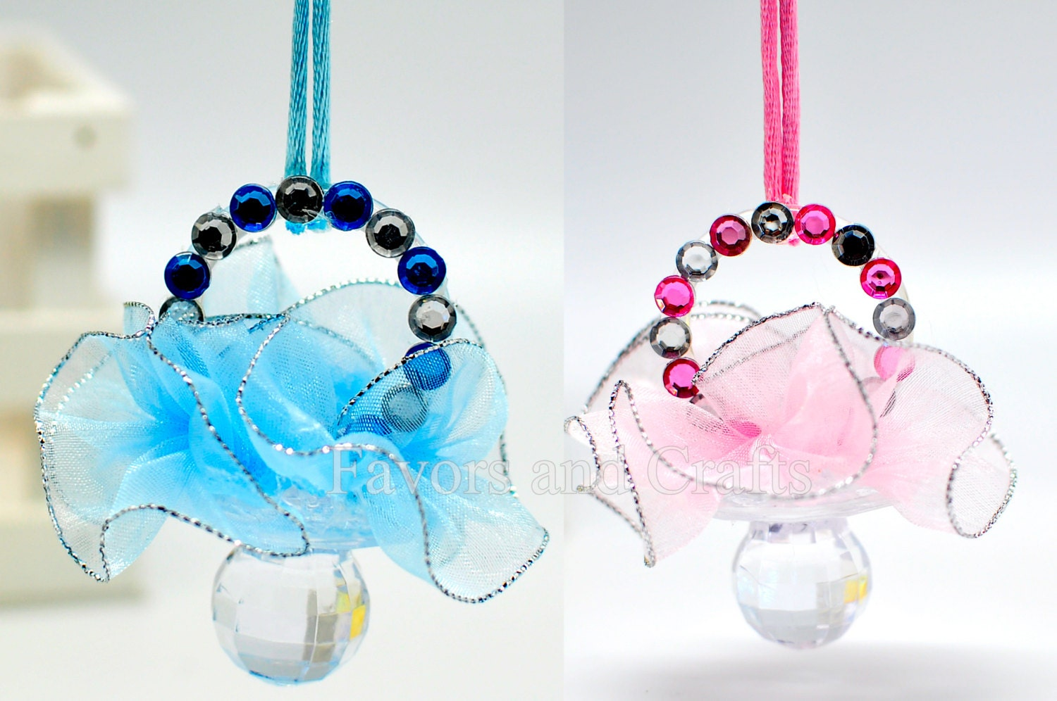 12 baby shower pacifiers favors necklaces girl by favorsandcrafts