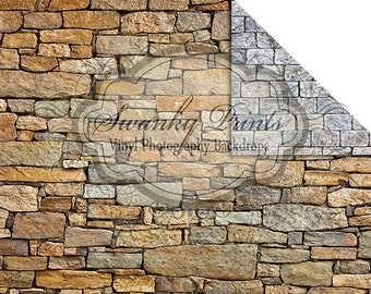 NEW ITEM / 7ft x 5ft REVERSIBLE Vinyl Backdrop / Double sided / Rock Wall and White Stone Floor