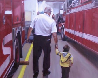 Custom Portrait - Custom Oil Painting - Firefighter - Photo to Painting - GIFT FOR DAD