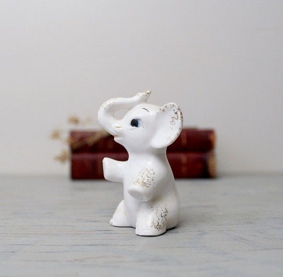Vintage Ceramic White Elephant Figurine Good Luck By Suite22