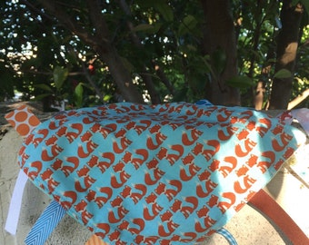 Little Foxes Tag Blanket with your choice of Minky // In Stock, READY TO SHIP
