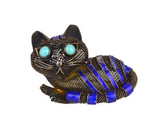 Vintage Chinese Silver, Blue Enamel, & Turquoise Cat Brooch // 1950's Collectible Book Piece