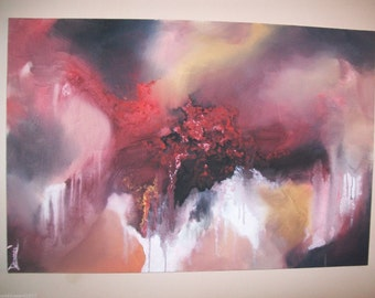 Original 36x24 Acrylic Abstract Red Modern Painting