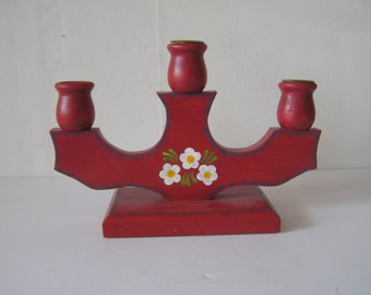 Scandinavian Red and Floral Candelabra