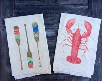 Set of Two Coastal Flour Sack Tea Towels