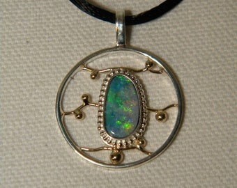 Bolder Opal Pendant With Gold