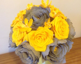 grey and yellow bouquet crepe paper roses and peonies.