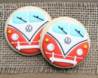 Hippie Bus / Hippie Sugar Cookies / Hippie Van / Hippie Bus Favors / 70's Party Favors / Hippie Bus Sugar Cookies - 12 cookies