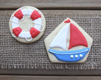 Sailboat Cookies / Summer Party / Nautical Baby Shower / Nautical First Birthday / Nautical Birthday / Nautical Gift / Sailboat Favor