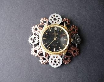 Steampunk Copper Gears Pin