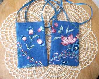 Spring Floral CELLPHONE POUCH Blue & Rose Cell Bag Android Iphone Necklace - Ships free in US