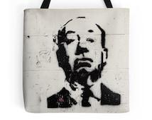 Hitchcock Bag, Street Art, Paris, Tote Bag, Travel Bag, Graffiti, Urban, Black and White, France, Portrait, Gift for Men, Movies, City Life