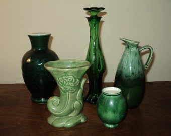 Vintage Green Vase Collection, An instant collection of vintage vases in different shades of verdant vibrant green.  All in Good Condition
