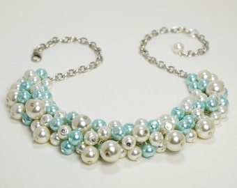 Chunky Pearl Necklace, Ivory and Aqua Cluster Necklace, Ivory and Aqua Wedding Combo, Bridesmaid Ivory Pearl Necklace, Aqua Pearl Jewelry