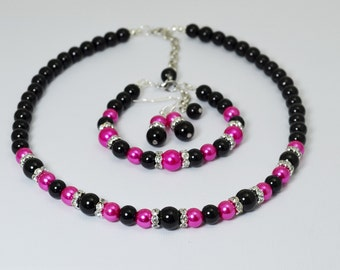 Pearl Strand Necklace Set, Hot Pink and Black Necklace, Bridesmaid Jewelry, Pearl Necklace, Black and Hot Pink Jewelry, Black Pearl Necklace