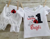 Ladybug Theme Custom First Birthday Appliquéd Shirt and Bloomers