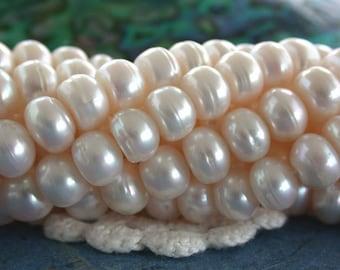 Fresh Water Pearls, 7mm Creamy White Fresh Water Pearls, Winter White Fresh Water Pearls, Button Pearls FWP-062