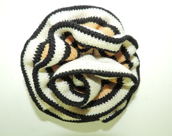 Vintage St John Marie Gray Brooch Santana Knit Multi Color Fabric Rolled Rose Flower Pin