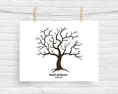 Large Wedding Tree Guest Book - Finger Print Signature Tree Wall Art - Poster Thumbprint