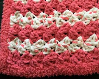 "Crocheted Baby Blanket 26""x 44"" Beautiful Coral and White / Car Seat Blanket / Travel Blanket / Bassinet Blanket / Crib Blanket"