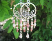 Large Pink and Creme Silver Metal Chandelier Gypsy Boho Earrings
