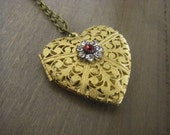Victorian Heart Locket Necklace Brass Filigree Red Siam Swarovski Crystal valentine gift for her