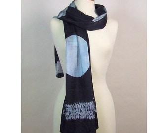 Long Silk Charmeuse Scarf Hand Dyed Shibori Black Blue Moon Water Itajime Mokume Arashi Shibori