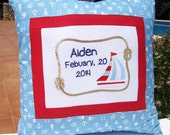 Personalized Embroidered Name Pillow Cover Boy Birthday Shower gift - Nautical Birth Announcement - Custom Made Nursery décor