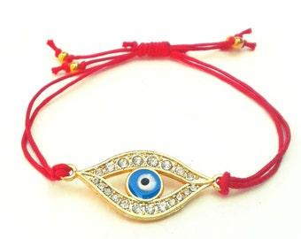 Evil Eye Bracelet, Red Cord Bracelet, Red and Gold Friendship Bracelet, UK Seller