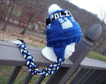 MADE TO ORDER: Police Box Ear Flap Hat - Hand Knit