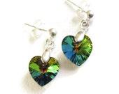 Children's Stud Earrings Heart Swarovski Crystal Valentine's Day Gift