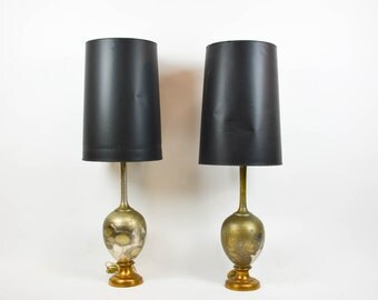 Pair of Mid Century Modern Brass Lamps Floral Detail