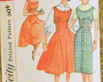 Simplicity 2597 jumper and dress pattern, bust 31, bust 30, 1960s pattern, sub teen pattern, teen pattern, empire waist, flared gored skirt