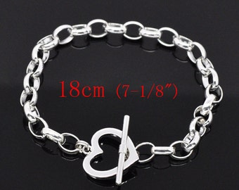 """10 Silver Heart Toggle Bracelets - 7"""" (18cm)  - WHOLESALE - Ships IMMEDIATELY from California - CH440b"""